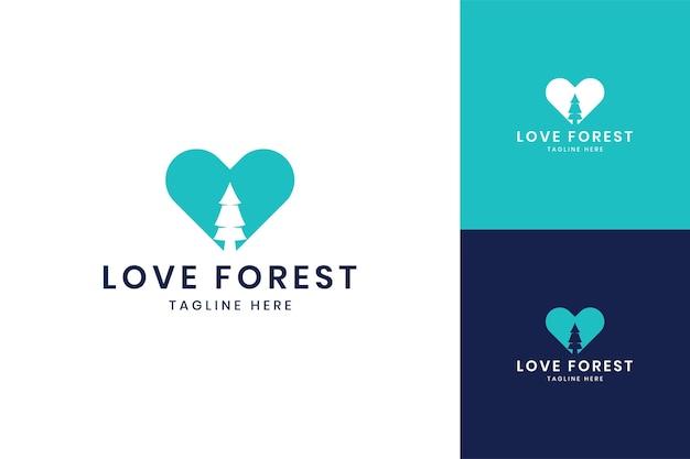 Amo o design do logotipo do espaço negativo da floresta