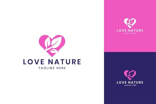 Amo o design do logotipo do espaço negativo da folha