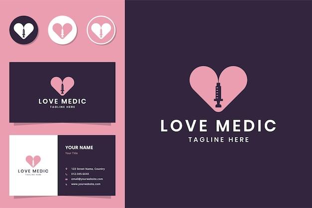 Amo o design do logotipo do espaço negativo médico