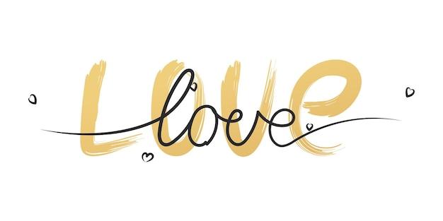 Amo o fundo de pintura de pincel de grunge dourado handdrawn, papel de parede de pano de fundo de decoração de saudação de dia dos namorados.