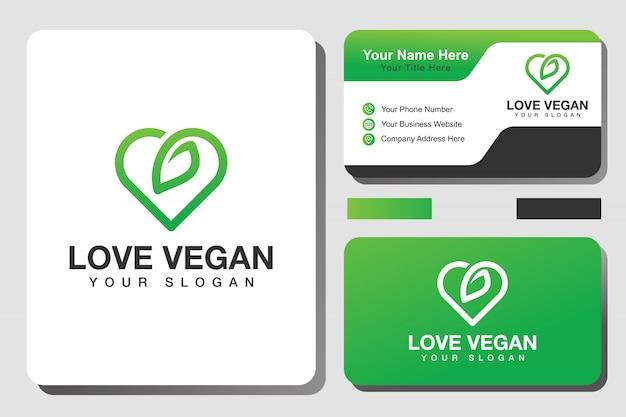 Amo o logotipo e cartão de visita vegan