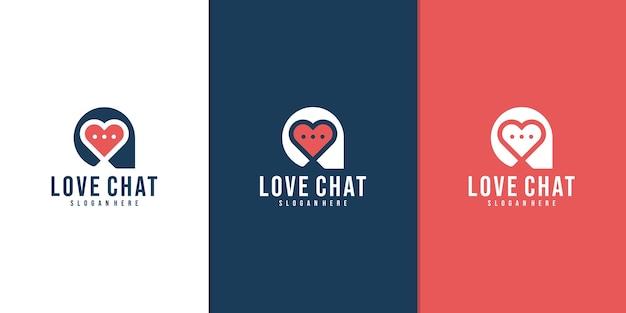 Amo o logotipo limpo simples do bate-papo. namoro mensagem logotipo simples.