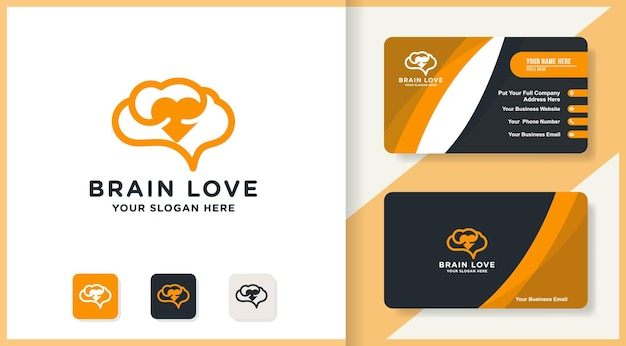 Amo o logotipo simples do cérebro e design de cartão de visita