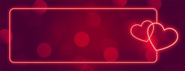 Amo o quadro de banner de corações de néon com espaço de texto