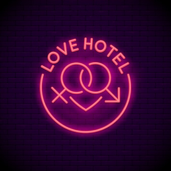 Amo o sinal de néon do logotipo do hotel