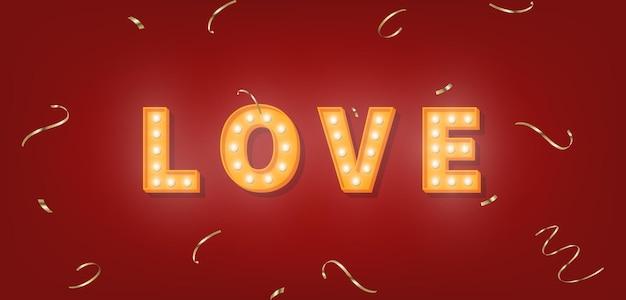 Amo o texto da marquise com confete dourado. modelo de lâmpada para dia dos namorados.