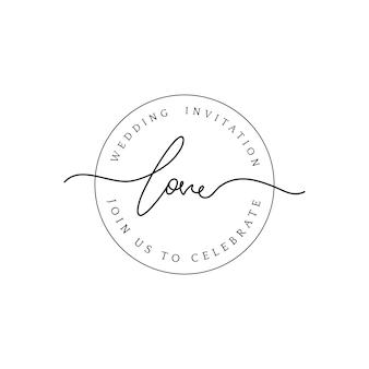 Amo o vetor de desenho de distintivo de convite de casamento