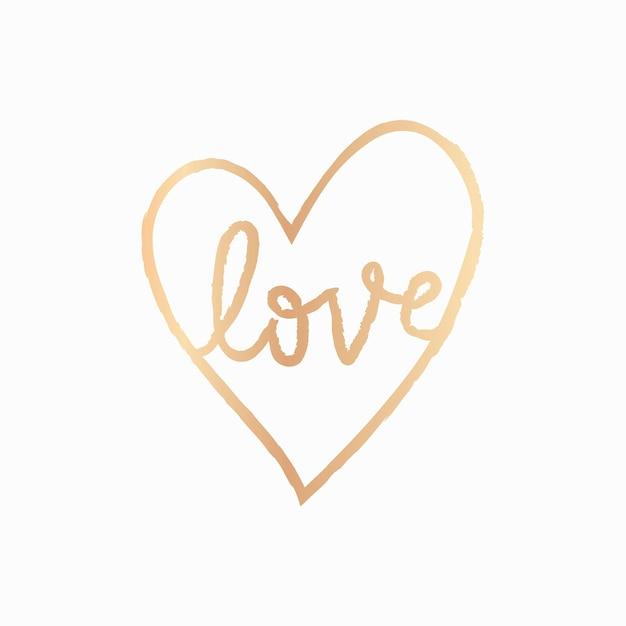 Amo o vetor de elemento de coração em estilo doodle