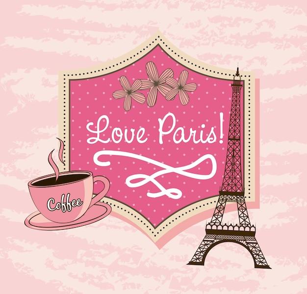 Amo paris com torre eiffel e café