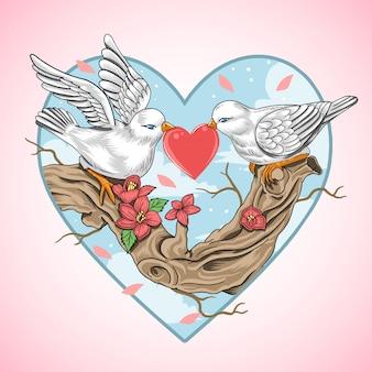Amo pássaro romântico