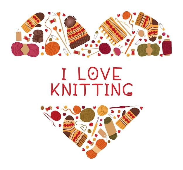 Amo por tricô e moldura de coração de crochê. roupas de lã feitas à mão de inverno quente e ferramenta de costura