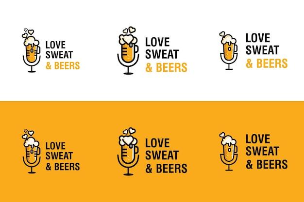 Amo suor e cerveja coleção de design de logotipo moderno