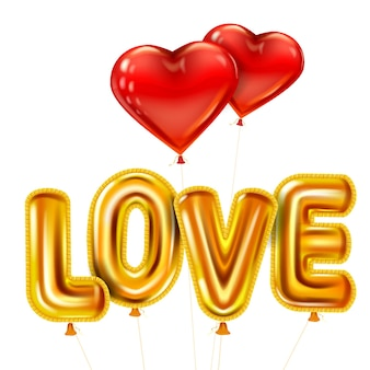Amo texto realista de balões brilhantes de ouro hélio metálico brilhante, formato de coração voando em balões vermelhos, feliz dia dos namorados