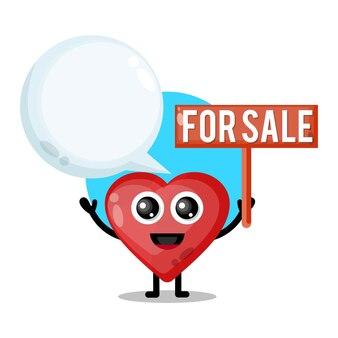 Amor à venda mascote de personagem fofo