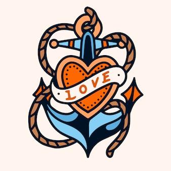 Amor, âncora, escola velha, tatuagem, ilustração