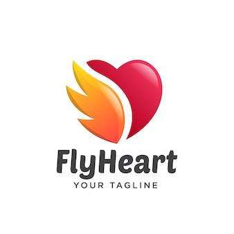 Amor asas logotipo gradiente simples limpo 3d