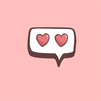 Amor, bolha, discurso, símbolo, mídia social, postagem, vetorial, ilustração