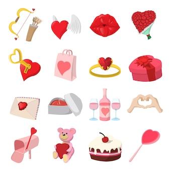 Amor, caricatura, ícones, jogo, isolado