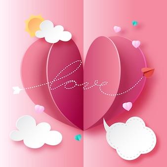 Amor cartão estilo de arte de papel