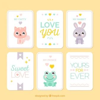 Amor cartões com pouco encantadora pacote de animais