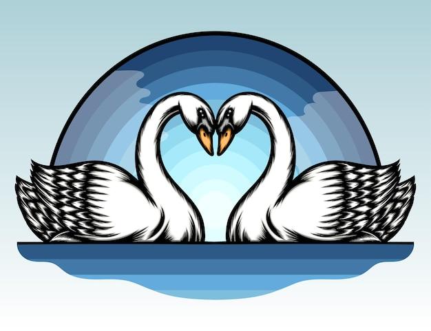 Amor casal cisne na água isolada no azul