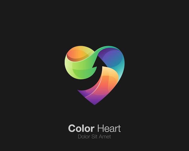 Amor colorido com logotipo de seta