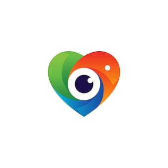 Amor colorido e lente para design de logotipo de fotografia
