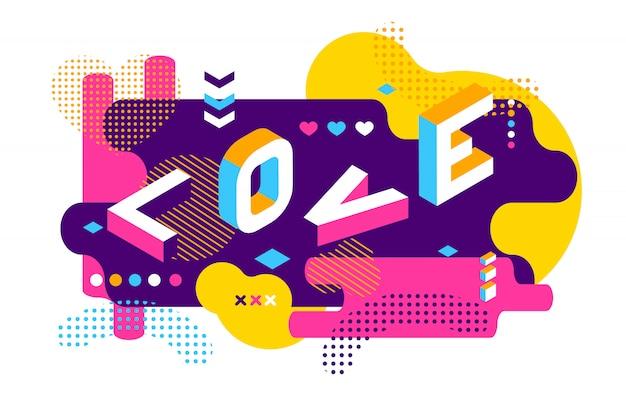 Amor colorido ilustração estilo memphis