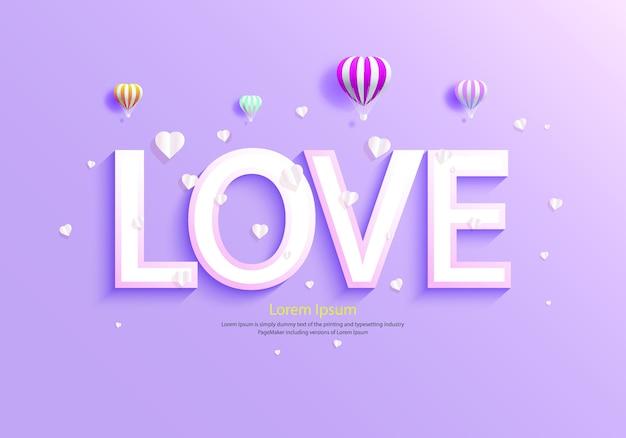 Amor com balões e coração em roxo.