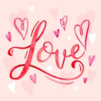Amor com boas letras de corações