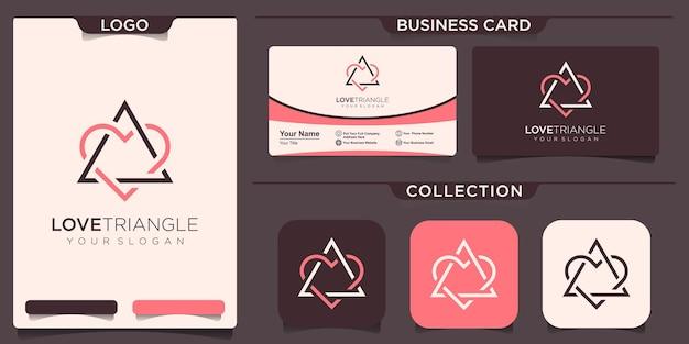 Amor com inspiração de design de logotipo de triângulo