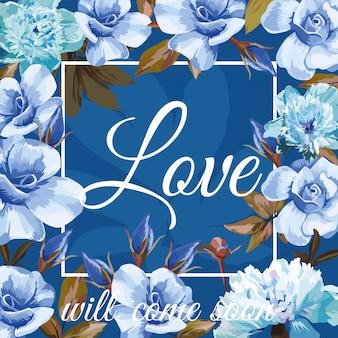 Amor com rosas azuis e moldura