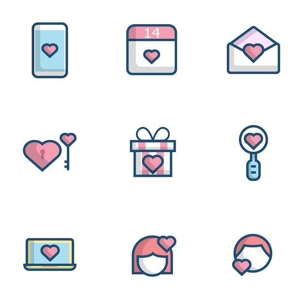 Amor, coração, conjunto de ícones plana