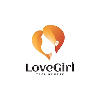 Amor coração e beleza mulher logotipo