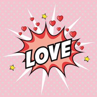 Amor coração estrela pop art