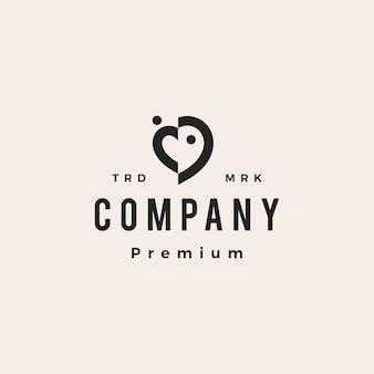 Amor, coração, pessoas, família, equipe, comunidade, hipster, logotipo vintage, vetorial, ícone, ilustração