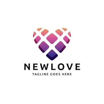 Amor coração quadrados logotipo