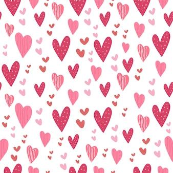 Amor coração rosa sem costura padrão bonito coleção