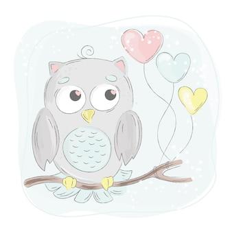 Amor, coruja, caricatura, pássaro, floresta, animal