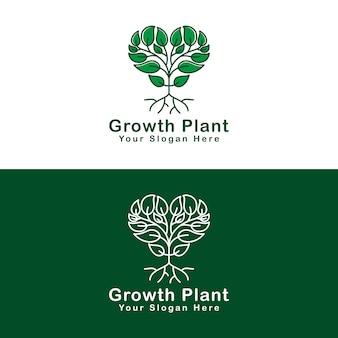 Amor crescimento árvore ou planta logotipo versão dois