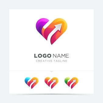 Amor criativo abstrato com logotipo de seta