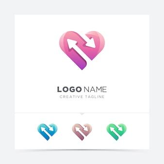 Amor criativo com variação do logotipo de seta