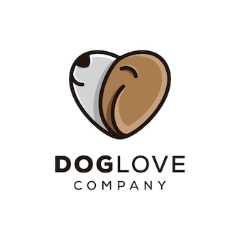 Amor de animal de estimação, logotipo de amor de cachorro