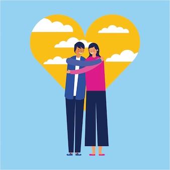 Amor de casal ao ar livre do coração