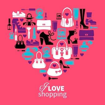 Amor de compras - coração com conjunto de ícones vetoriais da moda feminina