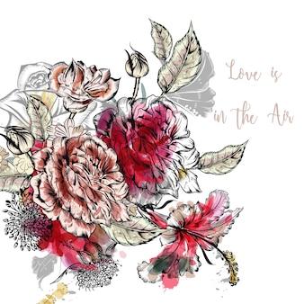 Amor de fundo com flores