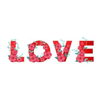 Amor de inscrição com decoração de flores 3d isolada