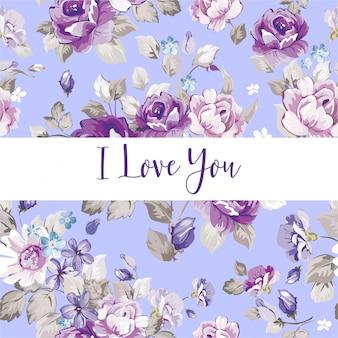 Amor de padrão de flores de fundo roxo