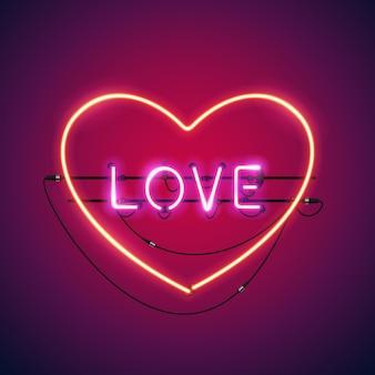 Amor-de-rosa no coração, sinal de néon