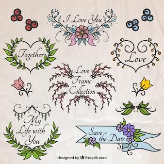 Amor desenhado coleção floral mão